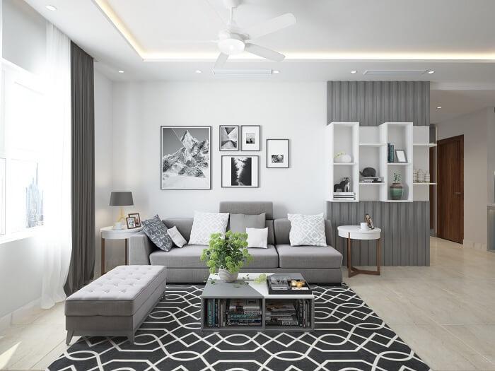 Thiết kế phòng khách đẹp, thanh lịch với gam màu trung tính
