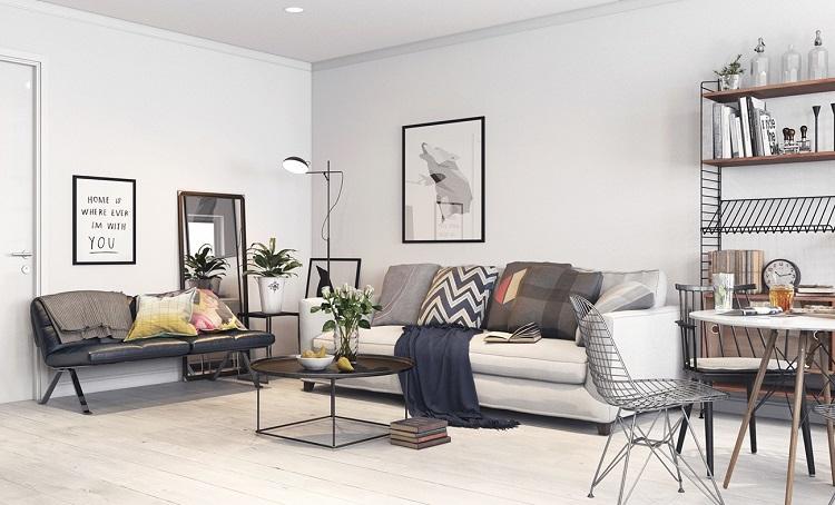Phòng khách thiết kế nội thất phong cách Bắc Âu (Scandinavian)