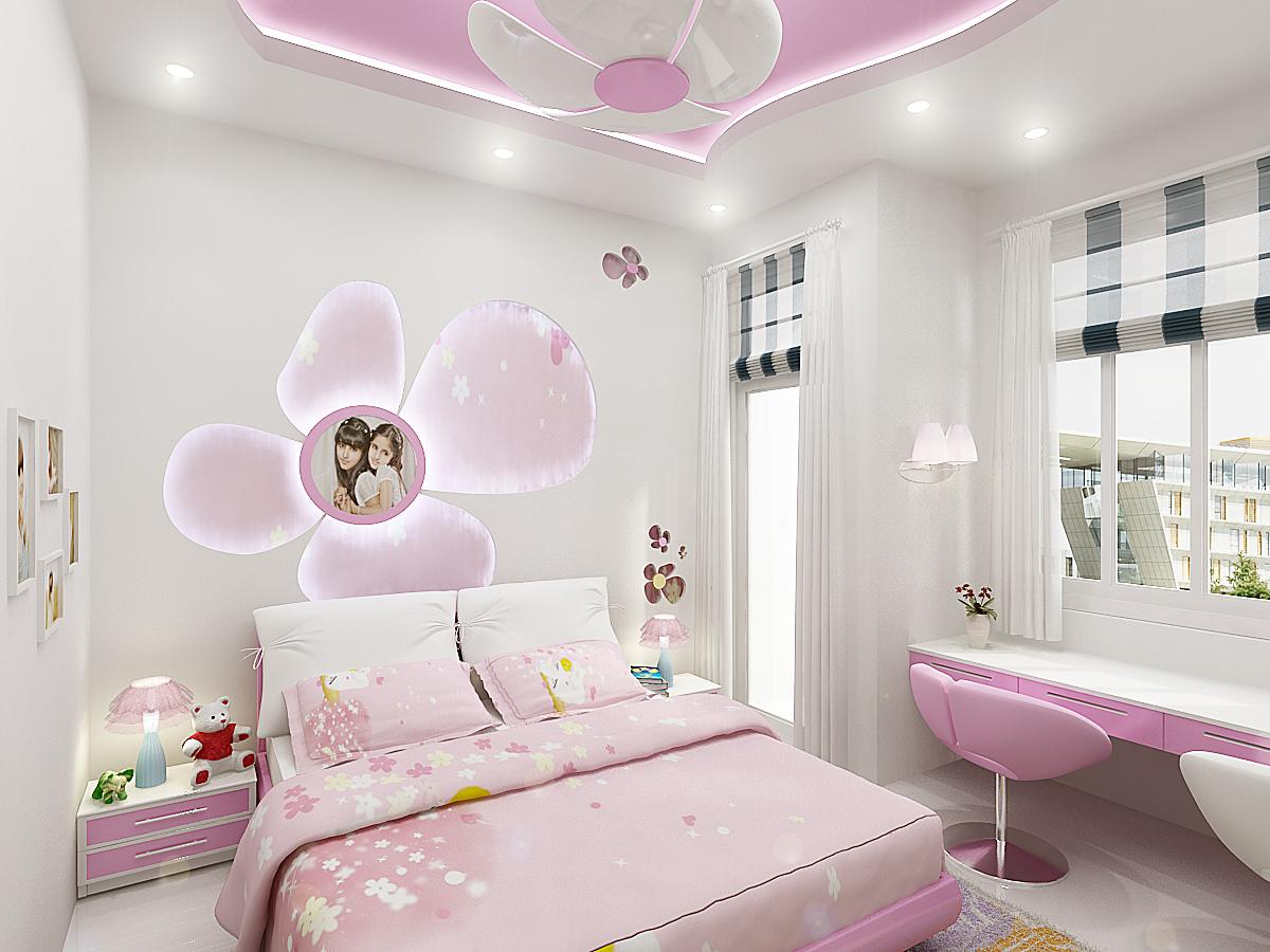Thiết kế nội thất phòng ngủ cực kỳ dễ thương cho bé gái