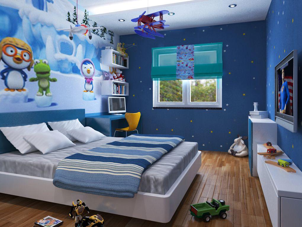 Mẫu phòng ngủ cho bé trai năng động và sáng tạo