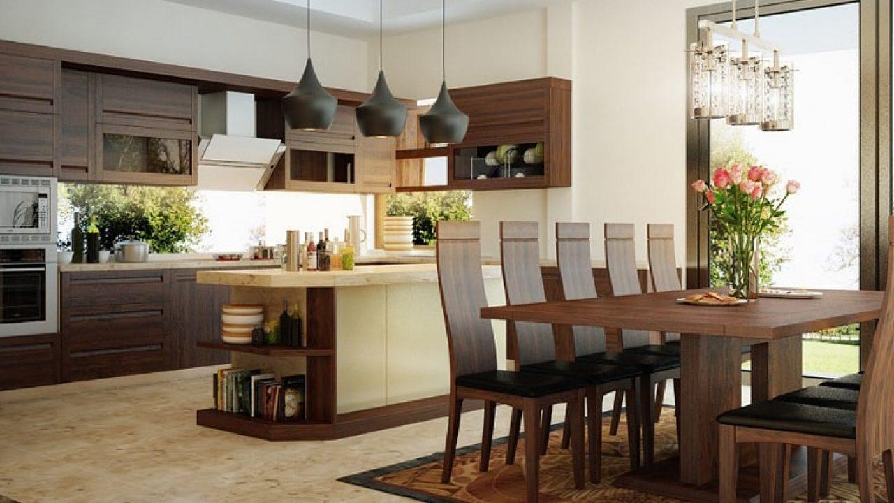 Nội thất phòng bếp đẹp với chất liệu gỗ