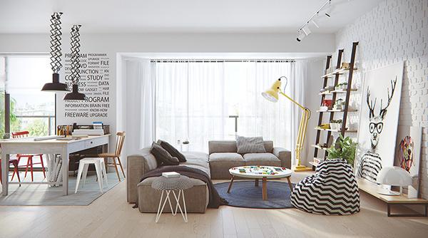 Màu trắng là màu đặc trưng trong nội thất căn hộ Scandinavian