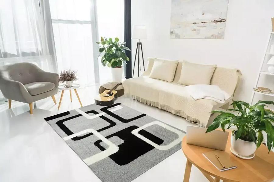 Thảm trải sàn hoạ tiết tối giản trong thiết kế nội thất ngày Tết