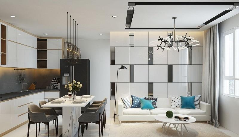 Thiết kế nội thất căn hộ phòng bếp hiện đại